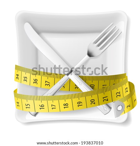 Square plate with measuring tape and crossed fork and knife. Diet concept - stock vector