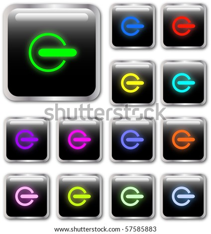 Square power buttons in various colors - stock vector