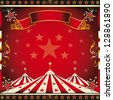 Square red vintage circus. A circus square leaflet for the announcement of your show - stock photo