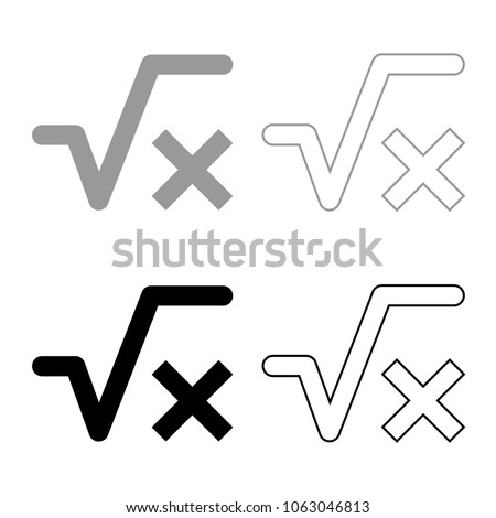Square Root X Axis Icon Set Stock Vector 1063046813 Shutterstock