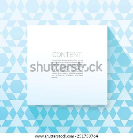 Square Sahape Minimal Paper Panel For Your Design.  Scalable EPS10 Vector Illustration  - stock vector