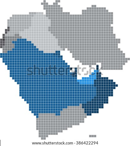 Square shape of Gulf countries and nearby countries map. Vector illustration - stock vector