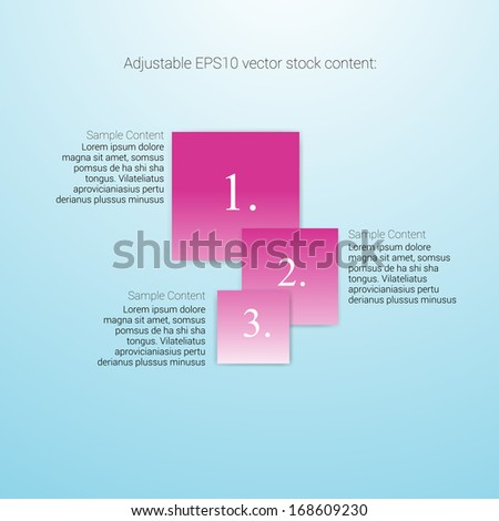 Square shape pink magenta edit of an abstract geometric vector simple menu with three elements for ranking, web design, brochure, infographics, listing or touchscreen layout for numbering & navigation - stock vector