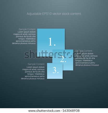 Square shaped blue edition of an abstract geometric vector simple menu with three elements for ranking, web design, brochure, infographics, listing or touchscreen layout for numbering & navigation - stock vector