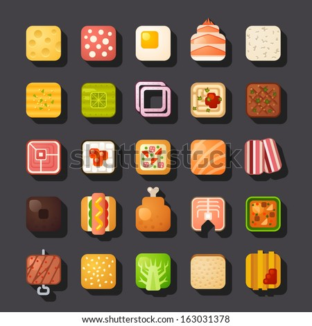 square shaped food icon set