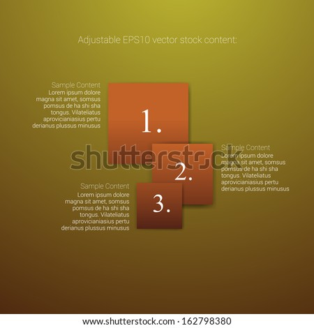 Square shaped orange edition of an abstract geometric vector simple menu with three elements for ranking, web design, brochure, infographics, listing or touchscreen layout for numbering & navigation - stock vector