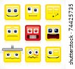 Square shaped Smileys - Funny vector collection - stock vector