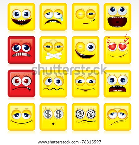 Square shaped yellow Smileys - vector icon set - stock vector