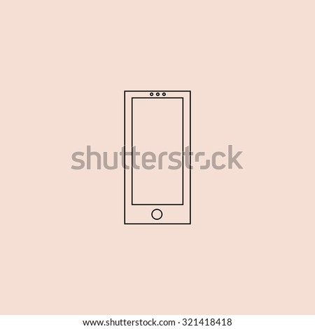 Square smartphone. OOutline vector icon. Simple flat pictogram on pink background