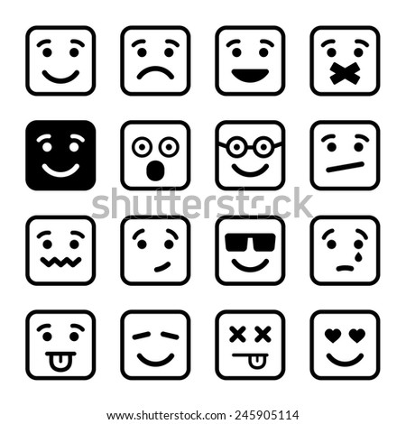 Square Smiley faces set. Vector Illustration EPS8 - stock vector