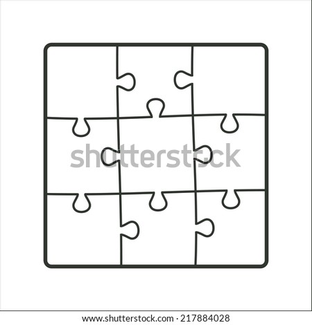 Square structure nine pieces of puzzles. White color. Vector illustration, eps 8. - stock vector