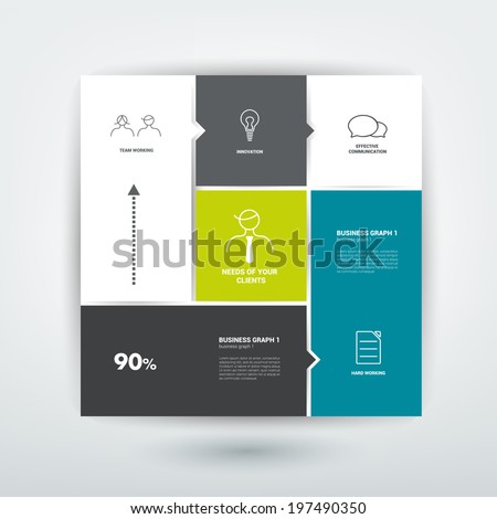 Square template diagram. Flat vector tab. - stock vector