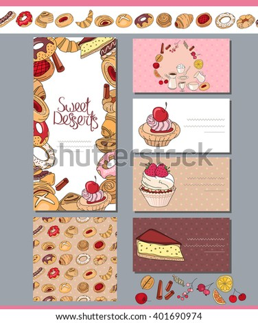Square template with different pastry.For your design, announcements, posters, restaurant menu. - stock vector