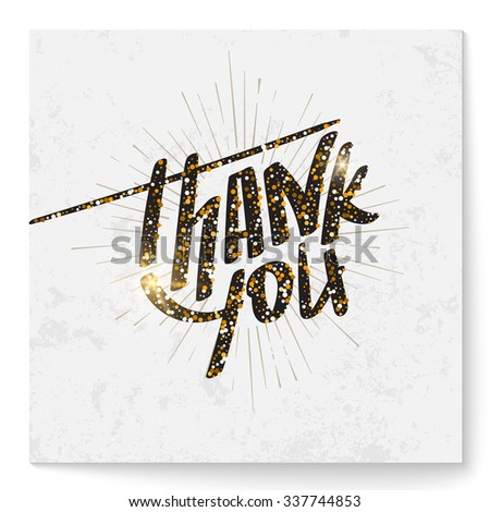 Square thank you card with modern lettering made of glitter