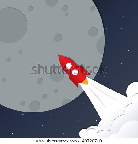 Square universe background. Dark blue Space with stars, planets and red rocket. Trip to the Space. Big gray planet - Moon. Modern design vector illustration. Creative square background. - stock vector