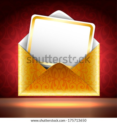 Square vector illustration. Golden paper envelope with a postcard on black and red background with patterns. Holiday invitation.  - stock vector