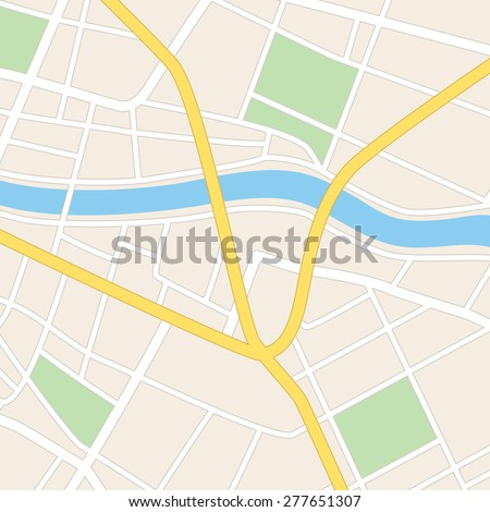 square vector map with river - streets and parks