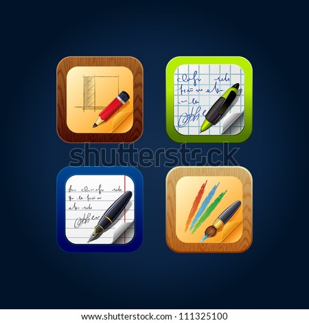 Square web app icon drawing tools - stock vector