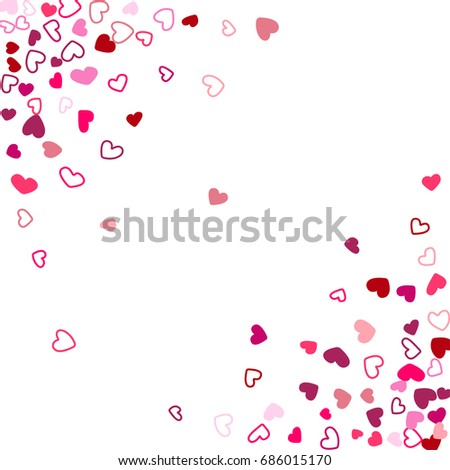 square wedding background invitation card corners template vector heart confetti border with place for