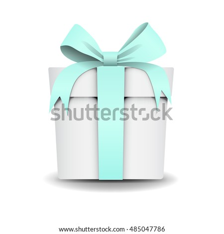 Square white gift box tiffany color stock vector 485047786 square white gift box with tiffany color mint light green ribbon and bow negle Choice Image