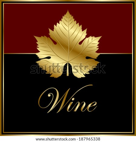 square wine label with gold leaf - stock vector