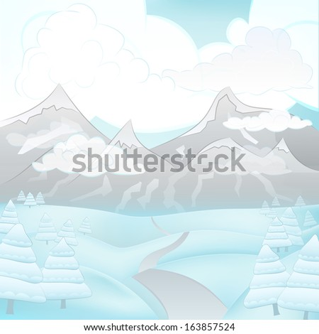square winter cloudy mountain landscape view with road and snowy trees vector illustration