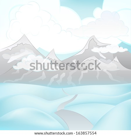 square winter mountain landscape view with road across snowy hills vector illustration