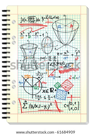 Squared pad with mathematical sketches and formulas - vector illustration - stock vector