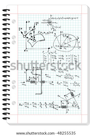 Squared pad with mechanical sketches and formulas - vector illustration - stock vector