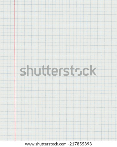 Squared paper from a notebook in mathematics. Exercise book in a cage. Vector illustration.