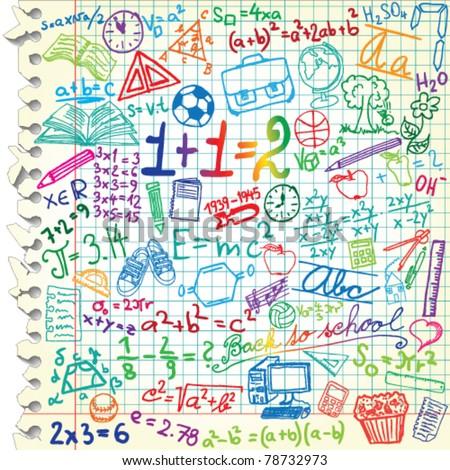 Squared Paper Colored School Symbols Stock Photo (Photo, Vector ...