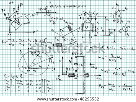 Squared Paper Mechanical Sketches Formulas Vector Stock Vector ...