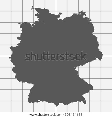 Squared Paper with the Shape of the Country of Germany - stock vector