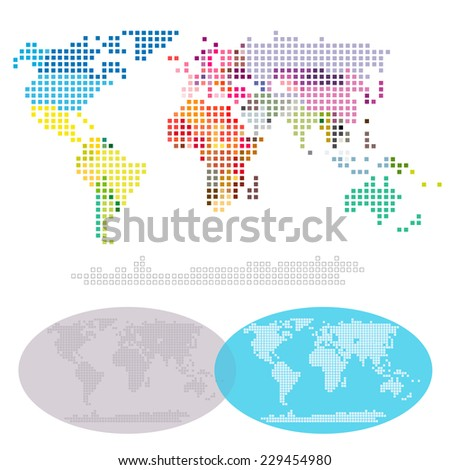 Squared World Continents and Nations map: Africa, Asia, Australia, Europe, North America, South America, Antarctica, split by the nations in different colors. Vector file, easy editing. - stock vector