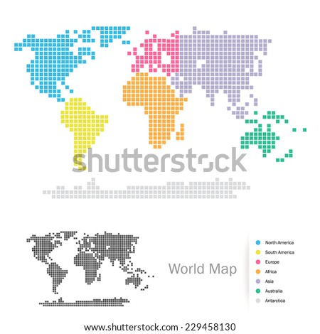 Squared World Continents map: Africa, Asia, Australia, Europe, North America, South America, Antarctica, split by the seven continents in different colors. Vector file, easy editing. - stock vector