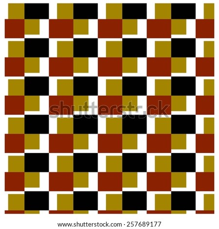 Squares alternating yellow and black stripes and orange.