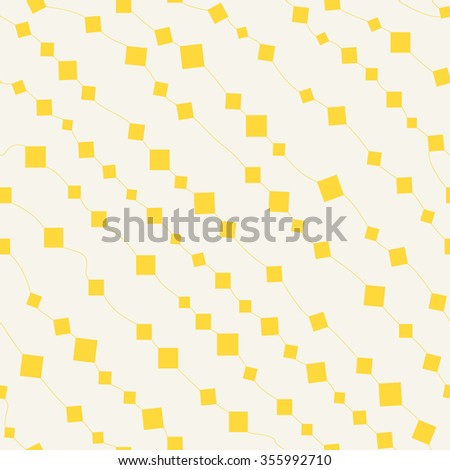 Squares and lines seamless pattern. Random diagonal geometry. Bright tangerine yellow on light beige yellow background. - stock vector