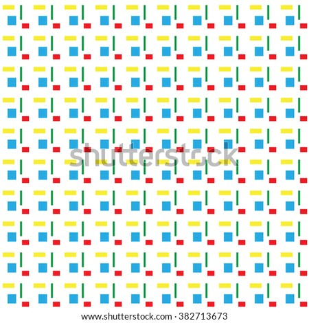 Squares and rectangles geometric shapes abstract seamless pattern on white background.Style design in repeating pattern for background or web page.