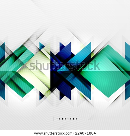 Squares and shadows - colorful geometric futuristic tech abstract background - stock vector
