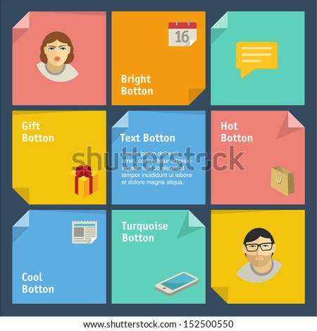 Squares background. Vector template for interface or infographic ready to place for your content - stock vector
