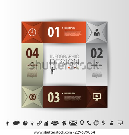 Squares infographic design. Vector template