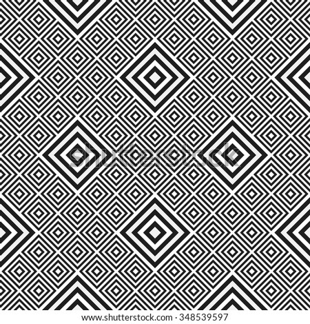 Squares Pattern. Ceramics Seamless Pattern. Ethnic background. Zigzag pattern. Geometric background. Abstract Black and White Background.Tiled textile pattern.Grid background.Vector Regular Texture.