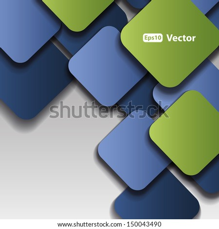 Squares with drop shadows - Abstract Background - stock vector