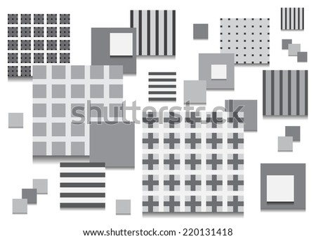Squares with patterns gray color of different shades