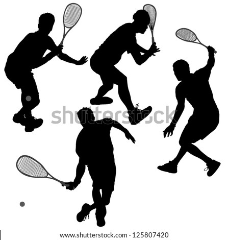 Squash players Silhouette on white background - stock vector