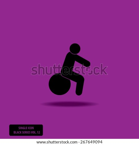 Squat on Ball - Single Icon Series vol. 12 - stock vector