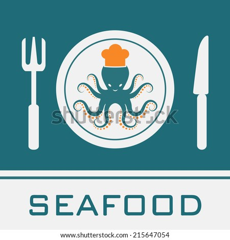 Squid, Fork, Knife, Dish icon, restaurant sign - stock vector