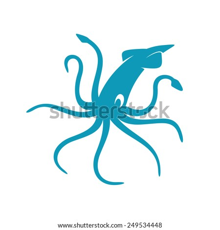 Squid vector silhouette - stock vector