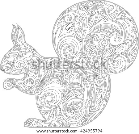 Squirrel, coloring - stock vector
