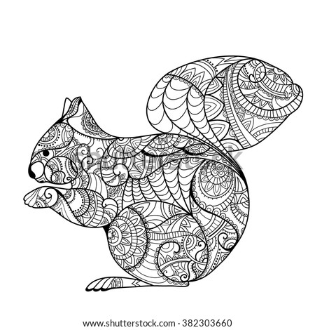 Squirrel Coloring Book Hand Drawn Funny With Nut For Adult Anti Stress